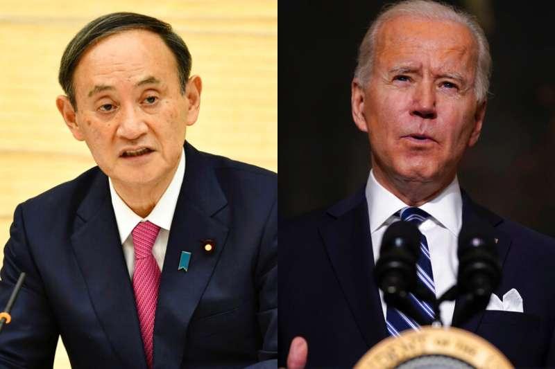 美日關係,日本首相菅義偉與美國總統拜登。(美聯社)