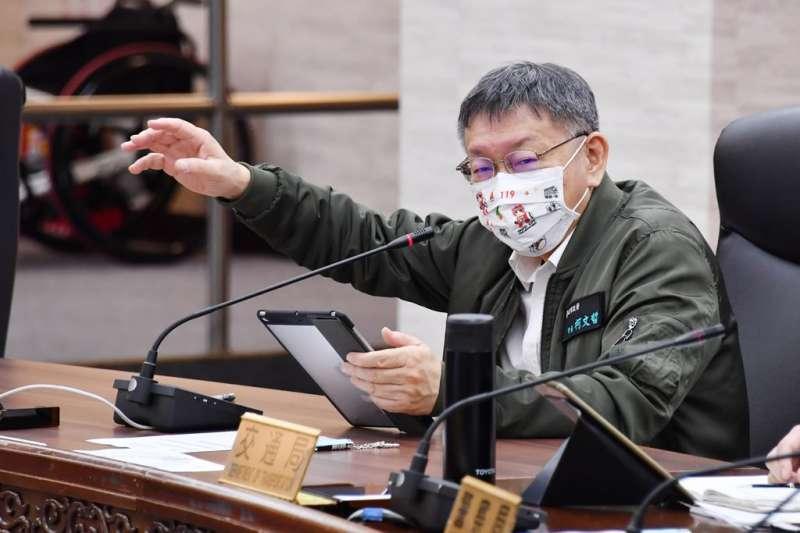 台北市長柯文哲(見圖)29日主持市府交通會報。(台北市政府提供)