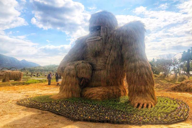 第二屆稻草藝術季今年加碼登場,可愛的「煥然遇猩」預期將延續東部最夯網美打卡景點美名。(圖片來源:富里農會)