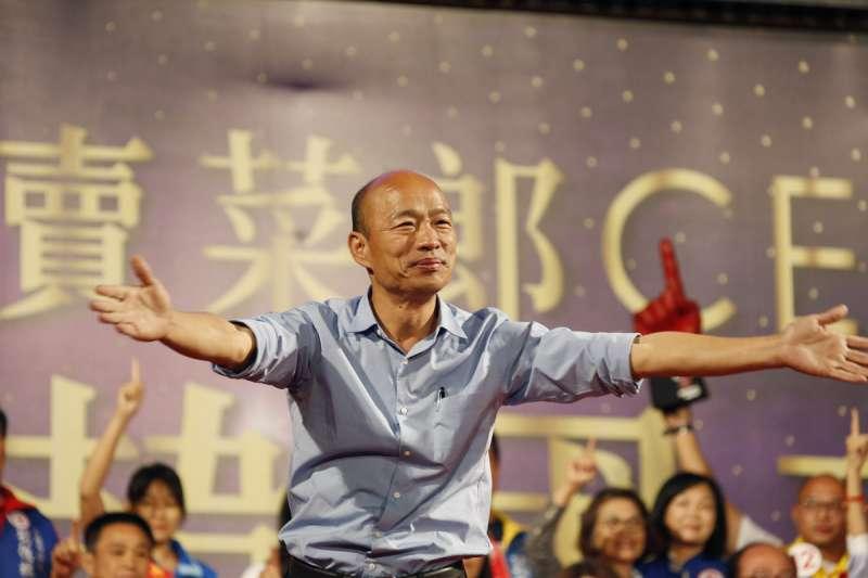國民黨前主席吳敦義在專訪中指出,「韓國瑜(見圖)選高雄市長是加分而不是減分,但他後面的發展就完全失控了。」(資料照,郭晉瑋攝)