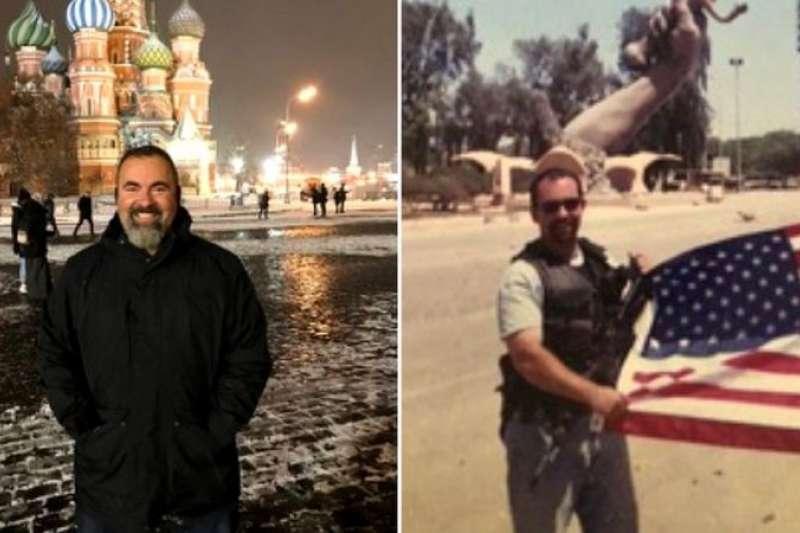 波利梅洛普洛斯深信他是在訪問俄羅斯(左)期間遭暗算。(BBC News中文)