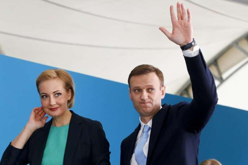 俄羅斯反對派領導人納瓦爾尼與妻子尤利婭。(AP)