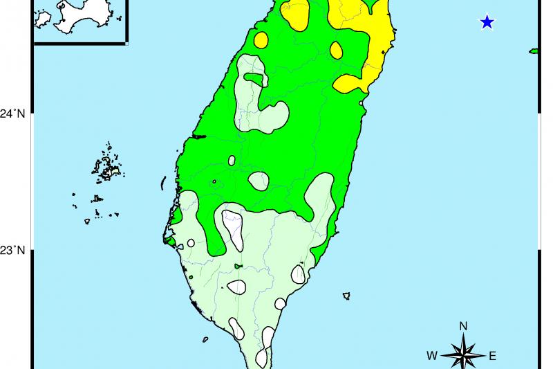 今(7)日清晨發生在台灣東北部海域規模6.1的地震,測量到最大震度在宜蘭。專家表示,2020至今發生大規模地震的頻率有增加,需再觀察和研究。(取自氣象局網站)