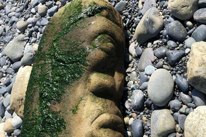 加拿大皇家博物館日前宣布發現重要原住民文物,但當地藝術家出面反駁稱,這根在海灘被尋獲的花雕石柱只是他在三年前創作的作品。(取自加拿大皇家博物館)