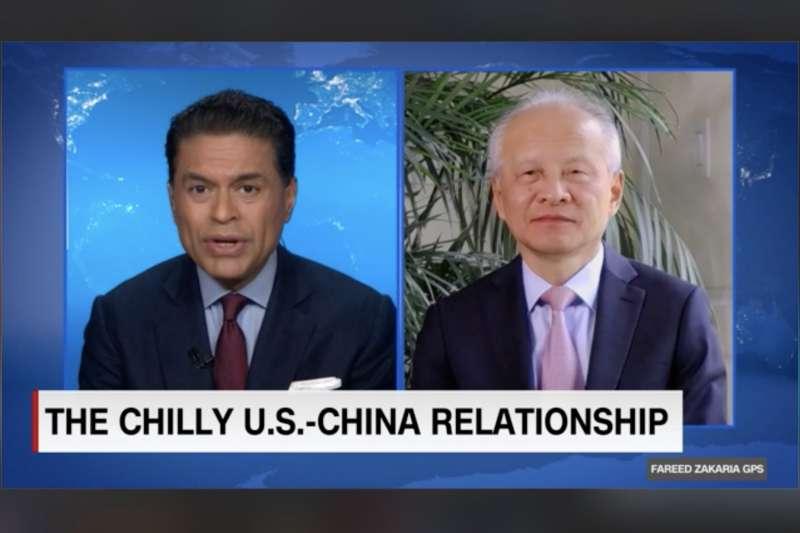 CNN主持人札卡利亞專訪中國駐美大使崔天凱。(翻攝網路)