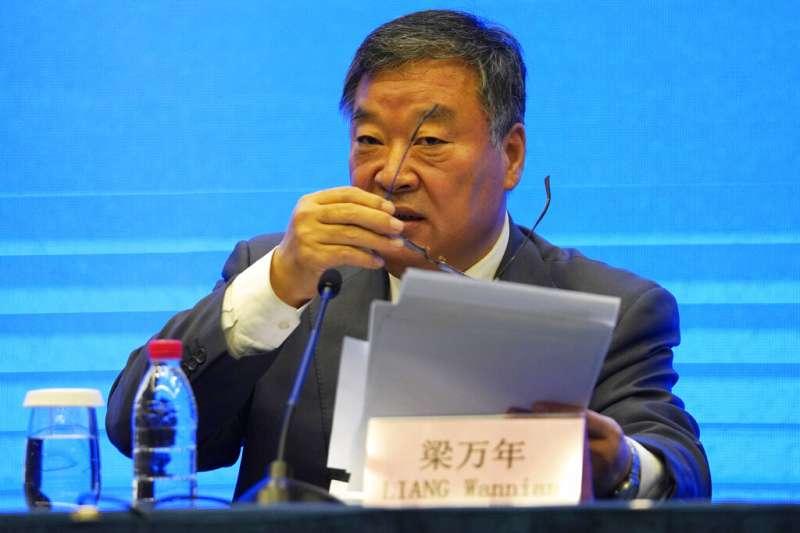 世界衛生組織(WHO)9日召開記者會,公開一個月來在武漢追溯新冠病毒源頭的調查結果。中國國家衛健委新冠肺炎疫情應對處置工作專家組組長梁萬年。(AP)