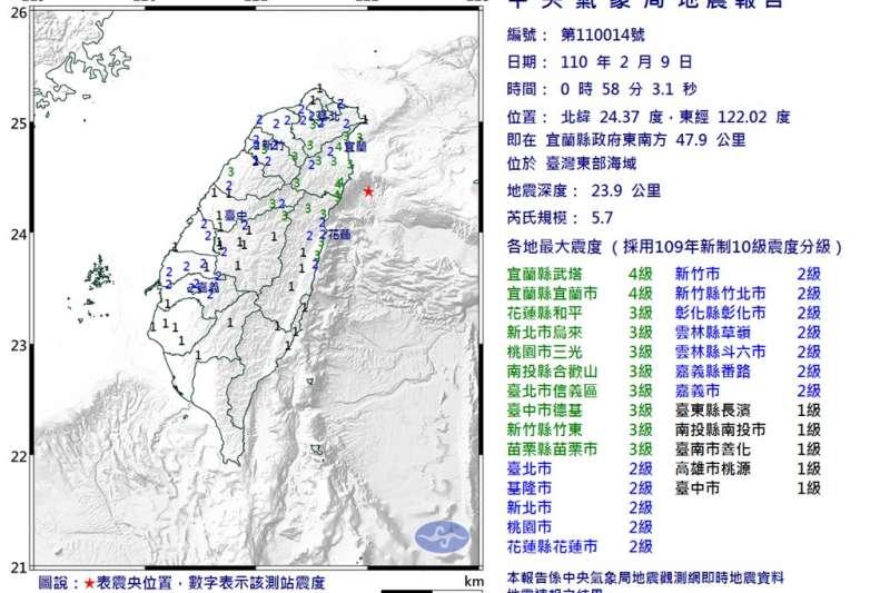 9日凌晨東部外海2分鐘震2次,國家警報卻沒響!(圖/取自氣象局網頁)