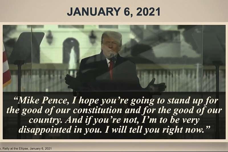 2021年2月10日,美國聯邦參議院審判前總統川普「煽動叛亂罪」,1月6日攻佔國會山莊事件新影片曝光(AP)