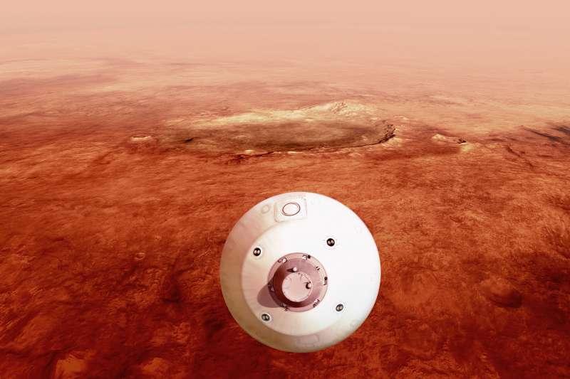 美國航太總署(NASA)火星探測器「毅力號」2月18日登陸火星。圖為模擬畫面。(取自NASA網站)