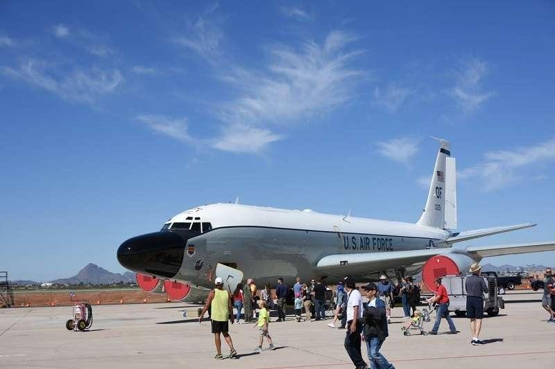 第55聯隊第45偵察中隊的RC-135W偵察機,來自內布拉斯加州的歐福特空軍基地(Offutt AFB)(許劍虹攝)