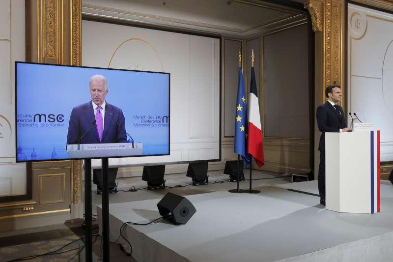 2021年2月19日,美國總統拜登(Joe Biden)以視訊方式出席慕尼黑安全會議(Munich Security Conference)(AP)
