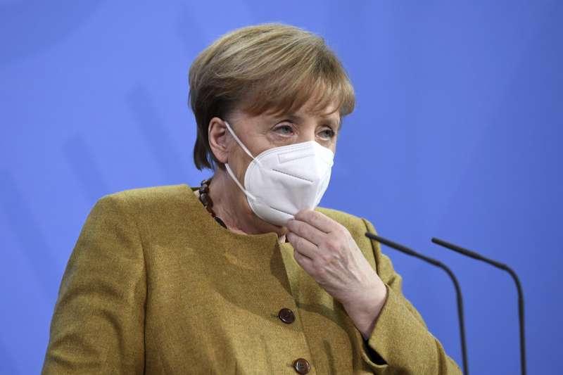 2021年2月19日,德國總理梅克爾(Angela Merkel)出席G7領導人峰會記者會(AP)