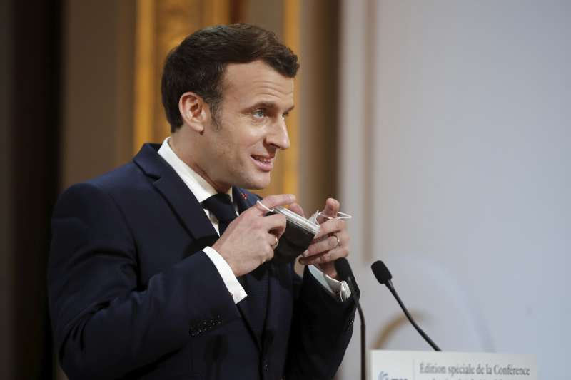 2021年2月19日,法國總統馬克宏(Emmanuel Macron)出席慕尼黑安全會議(Munich Security Conference)(AP)