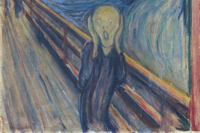 挪威表現主義畫家孟克著名畫作《吶喊》(The Scream)第一版本隱含神秘句子:「只有瘋子才畫得出來。」(取自挪威國家藝術館)