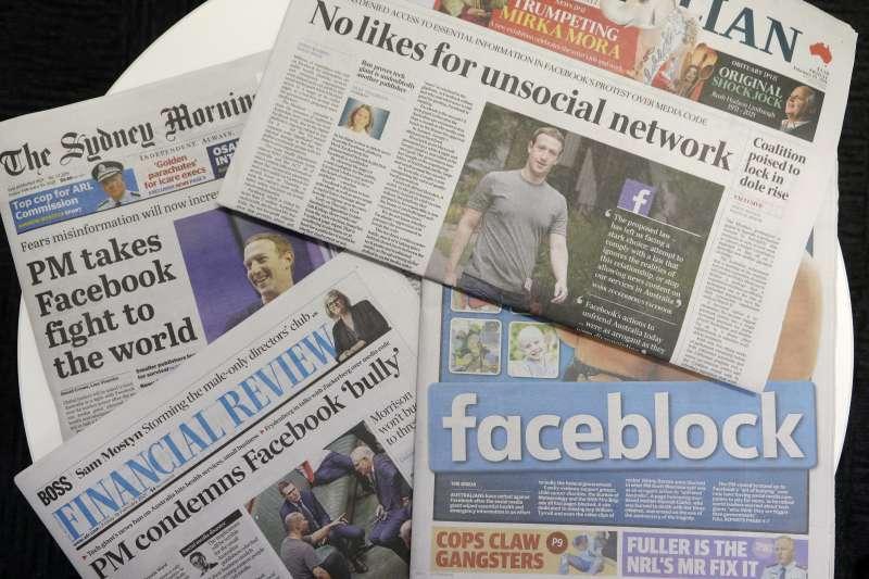 澳洲立法要求社群平台刊登媒體報導內容要付費,臉書(Facebook)選擇封鎖澳洲媒體(AP)