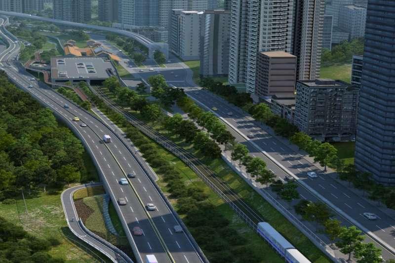 淡北道路完工示意圖,淡北道路的建設是為解決台2線交通壅塞問題。(資料照,新北市政府提供)