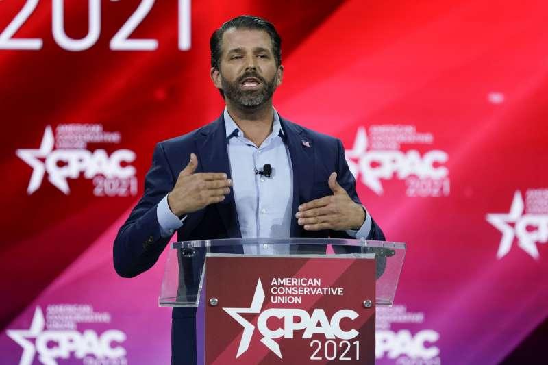 2021年2月26日,美國「保守派政治行動大會」(CPAC),川普長子小唐納德發表演講(AP)