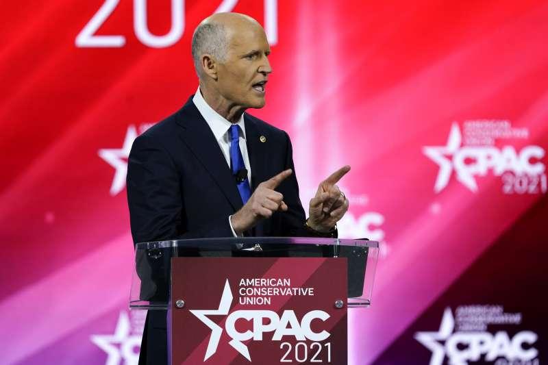 2021年2月26日,美國「保守派政治行動大會」(CPAC),佛州聯邦參議員史考特(Rick Scott)發表演講(AP)