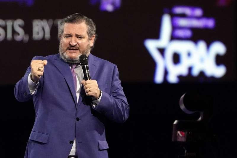 2021年2月26日,美國「保守派政治行動大會」(CPAC),德州聯邦參議員克魯茲(Ted Cruz)發表演講力挺川普(AP)