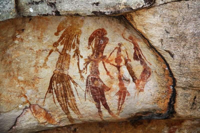 示意圖。澳洲西澳省金伯利地區的古老岩畫(TimJN1@Wikipedia/CC BY-SA 2.0)