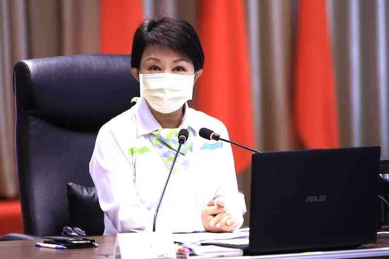 台中市長盧秀燕在市政會議中,說明台中美樂地是市府重要施政計畫。(圖/台中市政府提供)