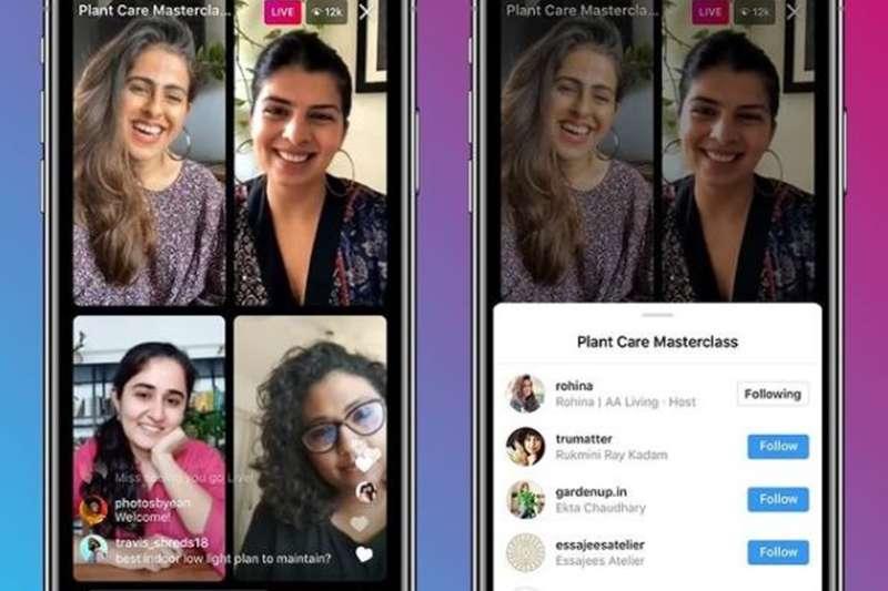 社群語音直播軟體clubhouse興起後,帶起一陣「房間多人直播」熱潮,Instagram今天開始啟用多達4人直播的功能。(圖/取自instagram@mosseri)