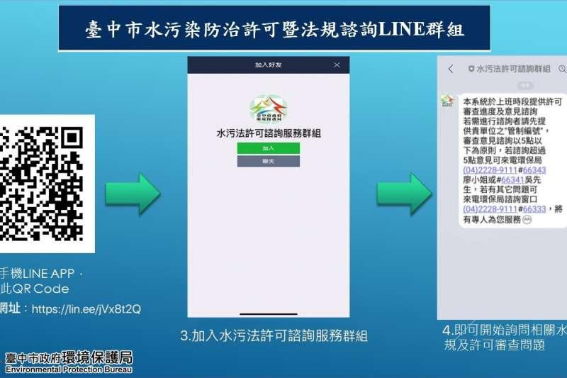 中市政府環保局成立「臺中市水污法許可諮詢服務」LINE群組,提供第一手法規修正、活動訊息及專人即時線上回覆。(圖/台中市政府提供)