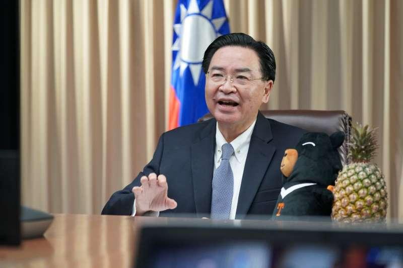 我國外交部長吳釗燮應對華政策跨國議會聯盟(IPAC)舉行視訊會議,台灣黑熊布偶及鳳梨都入鏡(翻攝Twitter)