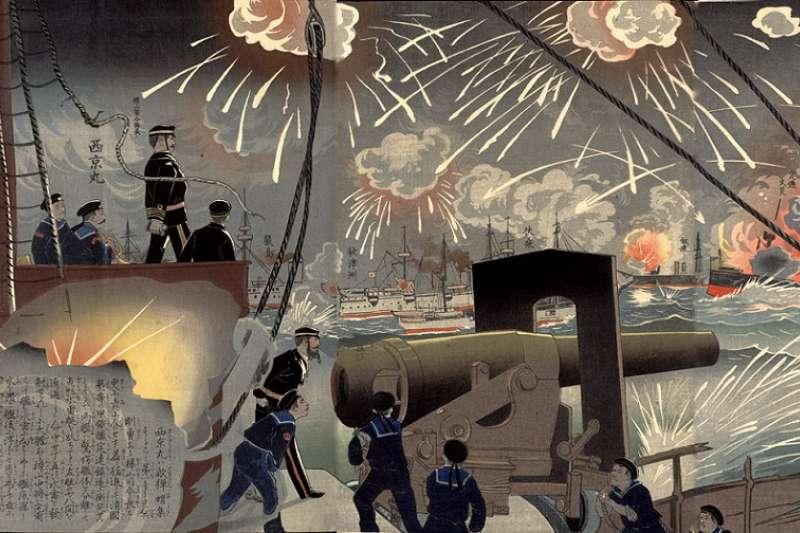 甲午戰爭日本聯合艦隊於黃海擊潰清朝北洋水師(浮世繪畫師小林清親、井上吉次郎繪∕維基百科)