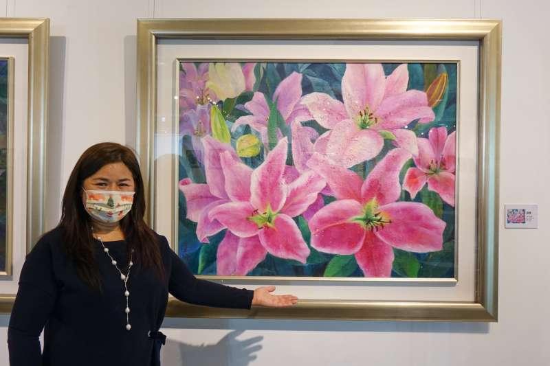 台中市大台中美術協會理事長吳玉珮展出的作品《盛宴》。(圖/台中市政府)