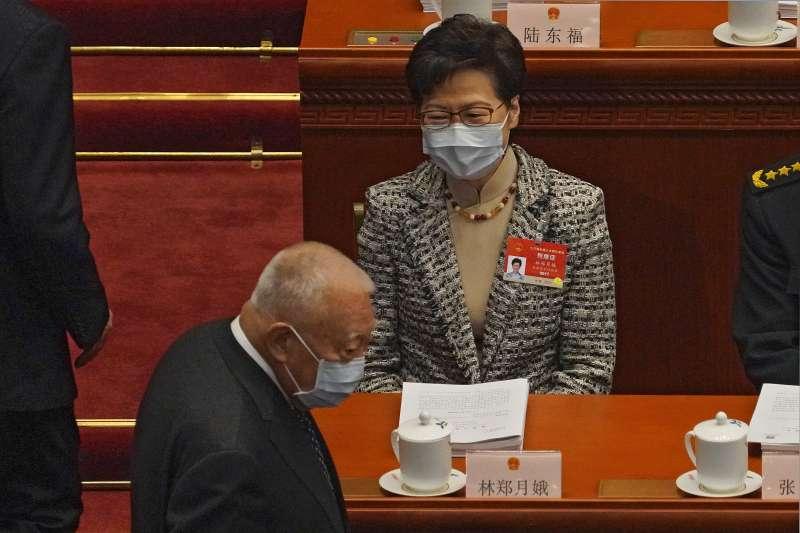 2021年3月,中國人大、政協「兩會」登場,林鄭月娥(AP)