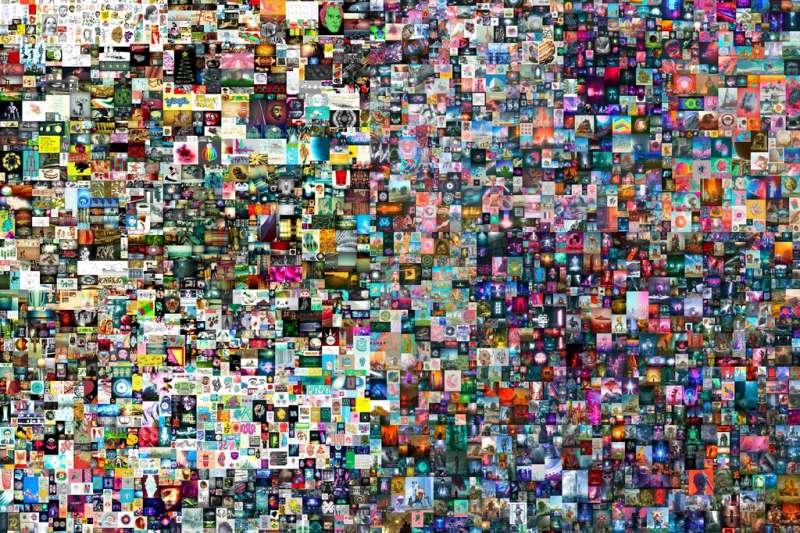 佳士得拍賣行3月11日以6934萬6250美元(約新台幣19.5億元)的天價售出,美國數位藝術大觸Beeple的加密作品《每一天:最初的5000個日子》。 (AP)