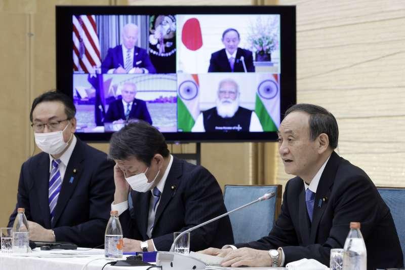 2021年3月12日,美國、日本、印度與澳洲4國領導人以視訊方式進行「四方安全對話」(Quad)峰會(AP)