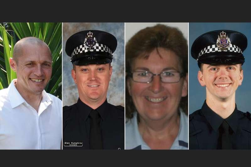 四名殉職警察:凱文‧金(Kevin King)、普雷斯特尼(Josh Prestney)、泰勒(Lynette Taylor)、漢弗里斯(Glen Humphris)。(由左至右)