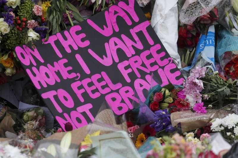 2021年3月,英國女子莎拉.艾弗拉德(Sarah Everard)之死掀起一場社會運動(AP)