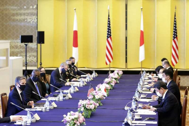 美國國防部長奧斯丁、國務卿布林肯,16日與日本外務大臣茂木敏充、防衛大臣岸信夫舉行美日「2+2會議」。(美聯社)