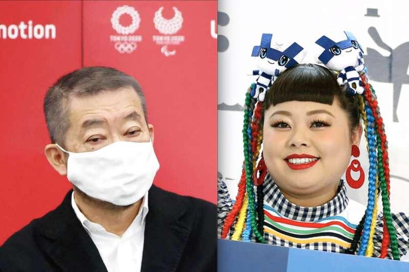 東京奧運開幕式負責人佐佐木宏與日本女星渡邊直美。(美聯社,風傳媒合成)