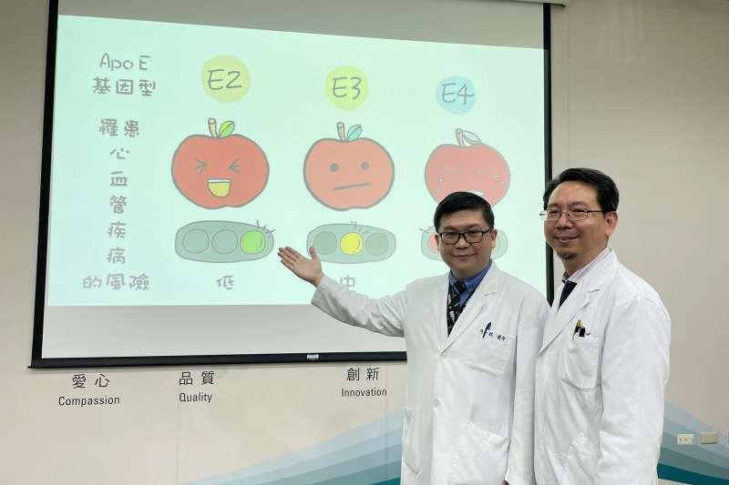 台中榮總醫院免疫風濕科主任黃文男及醫師陳一銘說明研究載脂蛋白E (ApoE)跟類風濕性關節炎造成心血管疾病、失智症的關聯性。(圖/台中榮總醫院提供)