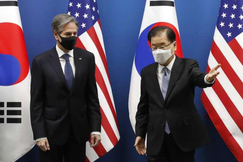 美國國務卿布林肯與南韓外長鄭義溶。(美聯社)