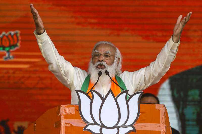 2021年3月,印度總理莫迪(Narendra Modi)(AP)
