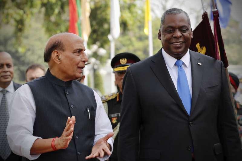 2021年3月20日,美國防部長奧斯丁(Lloyd Austin)與印度國防部長辛格(Rajnath Singh)在新德里舉行會談(AP)