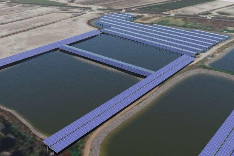 雲豹能源買下台南市北門區漁電共生案場,裝置容量123MW,為國內最具指標性漁電共生計畫,計畫將綠電直接轉供給有綠電需求之企業,加入售電業行列。此為完工 3D 模擬圖。(圖/雲豹能源提供)