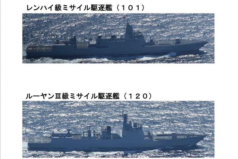 中國海軍驅逐艦南昌號(舷號101)與成都號(舷號120)。(自衛隊統合幕僚監部官網)