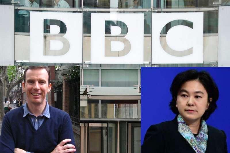 BBC駐華記者沙磊(左)在北京工作兩年後,一週前悄然離開中國。中國外交部發言人華春瑩反問媒體「他跑什麼」?(底圖:美聯社,沙磊與華春瑩照:翻攝網路)