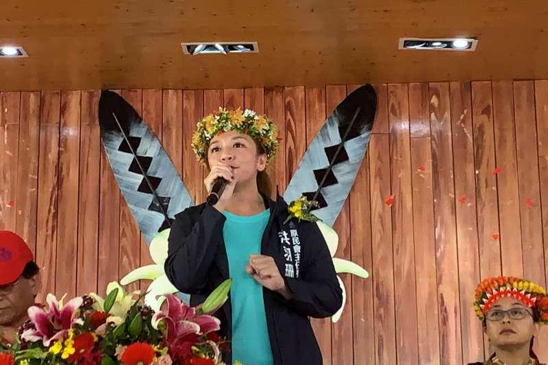 高雄市原民會主任委員洪羽珊到場參與「祈雨祭」並致詞。(圖/高雄市原民會提供)