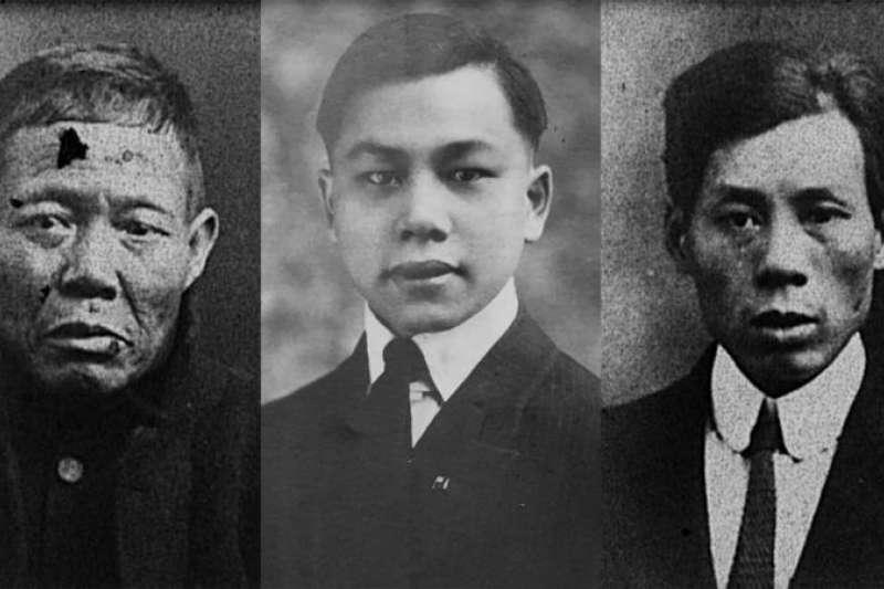 鐵達尼號上的中國倖存者亞林、方榮山和嚴喜。(BBC中文網)