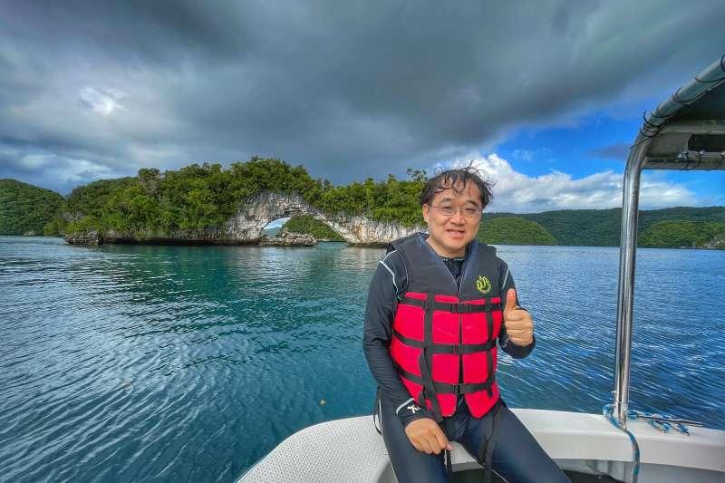 20210415-新光醫院副院長洪子仁參與台帛旅遊泡泡首發團,而這也是他第4度造訪帛硫。(洪子仁提供)