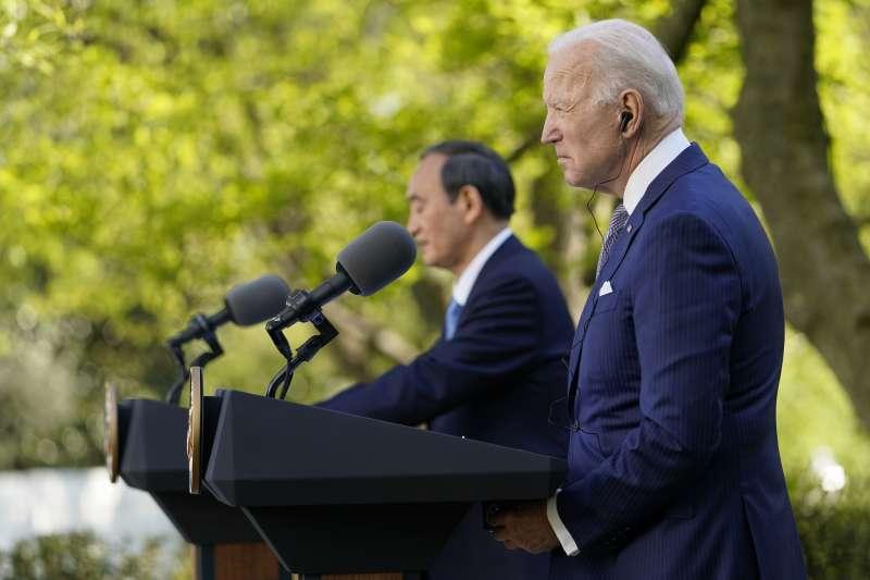 2021年4月16日,日本首相菅義偉與美國總統拜登在白宮舉行首次面對面會談。(AP)
