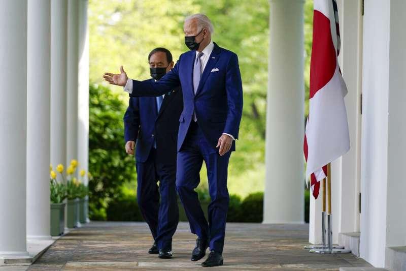 美國總統拜登與日本首相菅義偉峰會後共同聲明關切台海和平,其實不只美日關切,台海已成為全球遏止中國擴張的焦點。(美聯社)