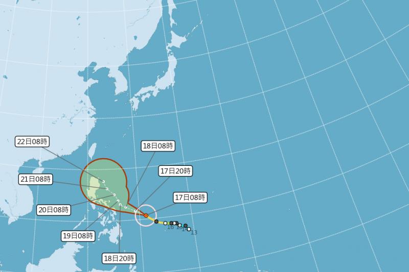 2021年第2號颱風「舒力基」將比原先預測的更靠近台灣,但氣象專家評估,其對紓解旱象的貢獻恐怕有限。(取自氣象局網站)